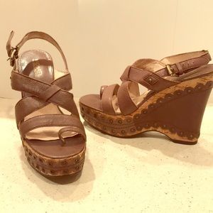 MICHAEL by Michael Kors Brown Leather Platforms